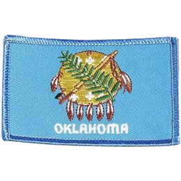 Oklahoma, Oklahoma City, Flag, USA, United States, Patch, Embroidered Patch, Merit Badge, Iron On, Iron-On, Crest, Girl Scouts
