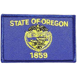 Oregon, Salem, Flag, USA, United States, Patch, Embroidered Patch, Merit Badge, Iron On, Iron-On, Crest, Girl Scouts