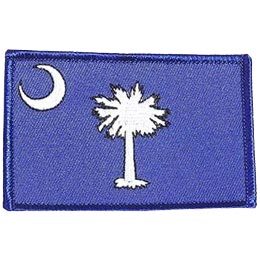 South Carolina, Columbia, Flag, USA, United States, Patch, Embroidered Patch, Merit Badge, Iron On, Iron-On, Crest, Girl Scouts