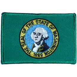 Washington, Olympia, State, Flag, Patch, Embroidered Patch, Merit Badge, Iron On, Iron-On, Crest, Girl Scouts
