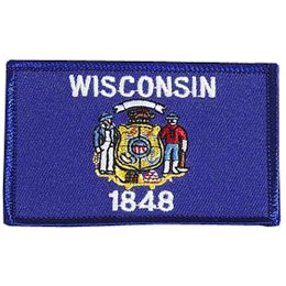 Wisconsin, Madison, Flag, USA, United States, Patch, Embroidered Patch, Merit Badge, Iron On, Iron-On, Crest, Girl Scouts