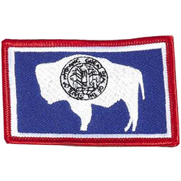 Wyoming, Cheyenne, Flag, USA, United States, Patch, Embroidered Patch, Merit Badge, Iron On, Iron-On, Crest, Girl Scouts