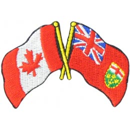 Canada, Ontario, Friendship, Flag, Country, Province, Patch, Embroidered Patch, Merit Badge, Iron On, Iron-On, Crest, Girl Scouts