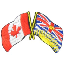 Canada, British Columbia, Friendship, Flag, Country, Province, Patch, Embroidered Patch, Merit Badge, Iron On, Iron-On, Crest, Girl Scouts