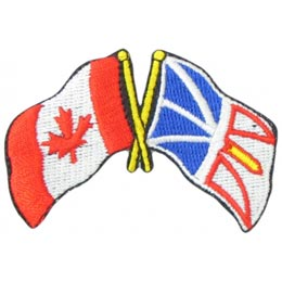 Canada, Newfoundland, Labrador, Friendship, Flag, Country, Province, Patch, Embroidered Patch, Merit Badge, Iron On, Iron-On, Crest, Girl Scouts