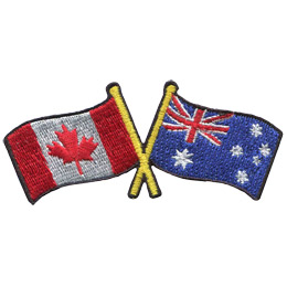 This badge displays the Canadian flag on the left and the Australia flag on the right. The flag poles of each flag are crossed with each other, forming a X shape.