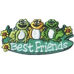 Best, Friends, Frogs, Flower, Lillypad, Patch, Embroidered Patch, Merit Badge, Badge, Emblem, Iron-On, Iron On, Crest, Lapel Pin, Insignia, Girl Scouts, Boy Scouts, Girl Guides