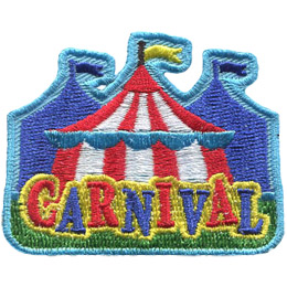 A yellow flag waves in the breeze on top of a red a white striped carnival tent. Two more tents, blued-out in the background, stand on either side of the main tent. The word \'Carnival\' is at the bottom of the patch in the foreground.