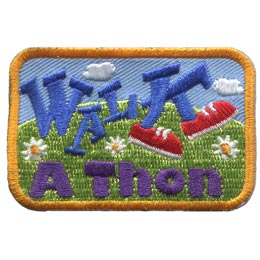 Walk, Thon, Walkathon, Shoes, Fundraise, Hill, Flower, Run, Patch, Embroidered Patch, Merit Badge, Badge, Emblem, Iron On, Iron-On, Crest, Lapel Pin, Insignia, Girl Scouts, Boy Scouts, Girl Guides