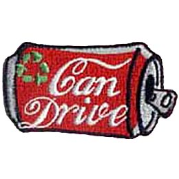 A Coke-A-Cola red and silver styled can lies on its side. The words ''Can Drive'' are written in flowing letters on the can's side while in the top left corner are the tree arrows that represent recycling.