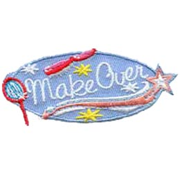 Make Over, Makeover, Mirror, Brush, Star, Patch, Embroidered Patch, Merit Badge, Badge, Emblem, Iron On, Iron-On, Crest, Lapel Pin, Insignia, Girl Scouts, Boy Scouts, Girl Guides