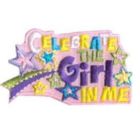 Celebrate, Girl, Award, Star, Streamer, Patch, Embroidered Patch, Merit Badge, Badge, Emblem, Iron On, Iron-On, Crest, Lapel Pin, Insignia, Girl Scouts, Boy Scouts, Girl Guides
