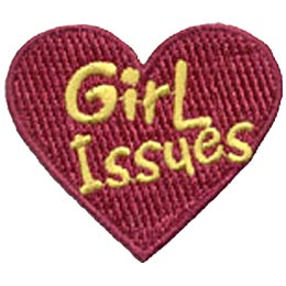Girl Issues, Heart, Patch, Embroidered Patch, Merit Badge, Crest, Girl Scouts, Boy Scouts, Girl Guides