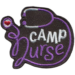 A stethoscope wraps around the text 'Camp Nurse' and ends in a heart.