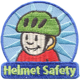 Helmet, Safety, Safe, Bicycle, Bike, Patch, Embroidered Patch, Merit Badge, Badge, Emblem, Iron On, Iron-On, Crest, Lapel Pin, Insignia, Girl Scouts, Boy Scouts, Girl Guides