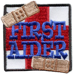First Aid, First Aider, Health, Accident, Injury, Patch, Embroidered Patch, Merit Badge, Badge, Emblem, Iron On, Iron-On, Crest, Lapel Pin, Insignia, Girl Scouts, Boy Scouts, Girl Guides