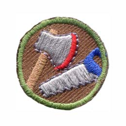 This round one inch patch depicts the images of an axe and a saw.
