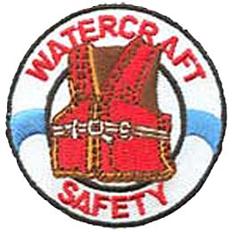 An inflatable white life saver has the words Watercraft (at the top) and Safety (at the bottom) on it. In the center of the life saver is a red life jacket.