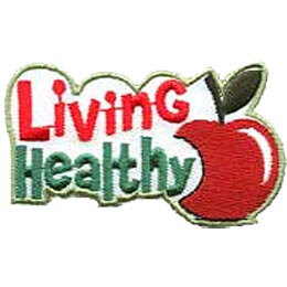 An apple with a big bite out of it rests next to the words ''Living Healthy.''