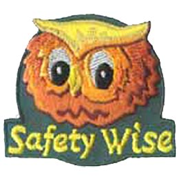 Safety Wise, Owl, Police, Safe, Street Smart, Patch, Embroidered Patch, Merit Badge, Crest, Girl Scouts, Boy Scouts, Girl Guides