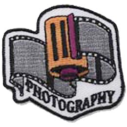 Photography, Film, Photo, Camera, Picture, Patch, Embroidered Patch, Merit Badge, Crest, Girl Scouts, Boy Scouts, Girl Guides