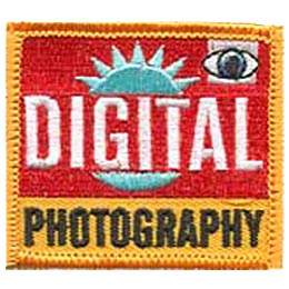 Digital Photography, Eye, Sun, Photo, Picture, Camera, Patch, Embroidered Patch, Merit Badge, Crest, Girl Scouts, Boy Scouts, Girl Guides