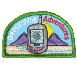 Geocache, Geo Cache, Geocaching, GPS, Satellite, Patch, Embroidered Patch, Merit Badge, Badge, Emblem, Iron On, Iron-On, Crest, Lapel Pin, Insignia, Girl Scouts, Boy Scouts, Girl Guides