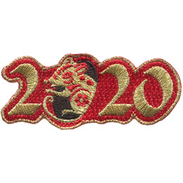 Golden numbers form '2020' on a background of red twill. A golden rat is shown peeking out of the first '0'.
