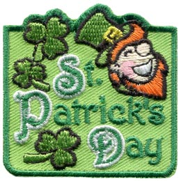 This generally square patch is filled with green. The words ''St. Patrick's Day'' fills the majority of this crest with three, three-leaf clovers scattered on the left and a top-hat wearing, orange bearded head of a smiling leprechaun on the right.