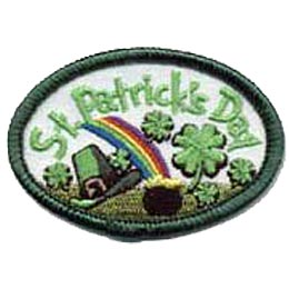 This oval patch has the words ''St. Patrick's Day'' embroidered in green along the top arch. Shamrocks, a rainbow, a pot of gold, and a leprechaun hat are scattered below the words.