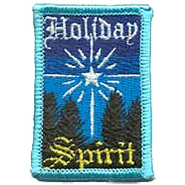 Holiday, Spirit, Christmas, Star, Wise, Tree, Patch, Embroidered Patch, Merit Badge, Badge, Emblem, Iron On, Iron-On, Crest, Lapel Pin, Insignia, Girl Scouts, Boy Scouts, Girl Guides