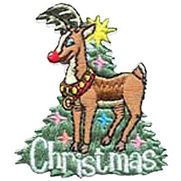 Christmas Reindeer, Holiday, Tree, Star, Badge, Crest, Merit Badge, Girl Guides, Girl Scouts, Boy Scouts