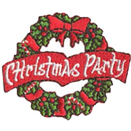 Christmas Party, Wreath, Festive, Bow, Patch, Embroidered Patch, Merit Badge, Crest, Girl Scouts, Boy Scouts, Girl Guides