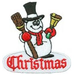 Christmas, Snowman, Frosty, Hat, Bell, Scarf, Snow, Winter, Patch, Embroidered Patch, Merit Badge, Badge, Emblem, Iron On, Iron-On, Crest, Lapel Pin, Insignia, Girl Scouts, Boy Scouts, Girl Guides,
