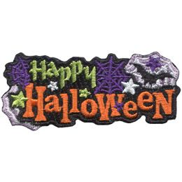 This patch has the word \'Happy\' on the top and \'Halloween\' on the bottom. On either side of \'Happy\' are purple spiderwebs and beside the right-hand spiderweb is a white spiderweb with a bat and a star in it. Green, white, and purple stars decorate this black background patch.