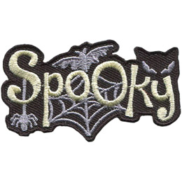 <p>This laser cust patch has the word 'Spooky' with a spider dangling from the 'S', a spider web behind the 'pook', a bat flying over the double 'oo' and a cat peering over the 'ky'.</p>