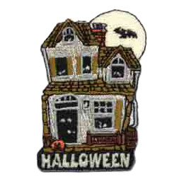 Haunted House, Halloween, Bat, Moon, Glow, Patch, Embroidered Patch, Merit Badge, Crest, Girl Scouts, Boy Scouts, Girl Guides