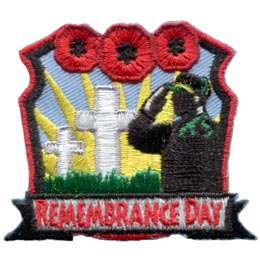 Remember, Remembrance, Day, Military, Troop, Soldier, Poppy, Veteran, Cross, Salute, War, Peace, Patch, Embroidered Patch, Merit Badge, Crest, Girl Scouts, Boy Scouts, Girl Gui