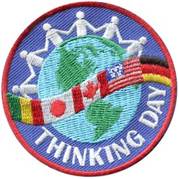 Think, Thinking Day, World, Globe, Friend, World Thinking Day, Patch, Embroidered Patch, Merit Badge, Badge, Emblem, Iron On, Iron-On, Crest, Lapel Pin, Insignia, Girl Scouts, Boy Scouts, Girl Guides