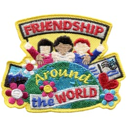 Friendship, World, Thinking, Day, Thinking Day, WAGGS, Patch, Embroidered Patch, Merit Badge, Badge, Emblem, Iron On, Iron-On, Crest, Lapel Pin, Insignia, Girl Scouts, Boy Scouts, Girl Guides