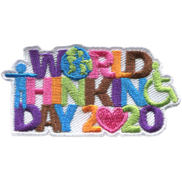 The text World Thinking Day 2020 is stacked on top of each other. The O in World is the Earth. The T in Thinking is a person with their arms stretched out. The G in Thinking is a person in a wheelchair. The first 0 in 2020 is a heart.
