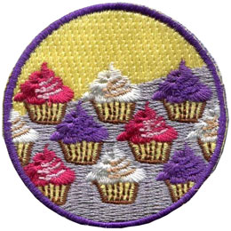 Baking, Bake, Cook, Cupcake, Chef, Patch, Embroidered Patch, Merit Badge, Badge, Emblem, Iron On, Iron-On, Crest, Lapel Pin, Insignia, Girl Scouts, Boy Scouts, Girl Guides