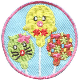 Bake, Pop, Baking, Cooking, Bakery, Patch, Embroidered Patch, Merit Badge, Badge, Emblem, Iron On, Iron-On, Crest, Lapel Pin, Insignia, Girl Scouts, Boy Scouts, Girl Guides