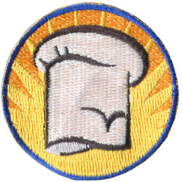 Chef, Hat, Bake, Cook, Kitchen, Food, Patch, Embroidered Patch, Merit Badge, Badge, Emblem, Iron On, Iron-On, Crest, Lapel Pin, Insignia, Girl Scouts, Boy Scouts, Girl Guides