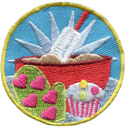 Baking, Bowl, Bake, Cook, Mix, Cupcake, Oven, Mitt, Spatula, Patch, Embroidered Patch, Merit Badge, Badge, Emblem, Iron On, Iron-On, Crest, Lapel Pin, Insignia, Girl Scouts, Boy Scouts, Girl Guides