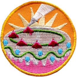 Cake, Decorate, Baking, Decorator, Icing, Patch, Embroidered Patch, Merit Badge, Badge, Emblem, Iron On, Iron-On, Crest, Lapel Pin, Insignia, Girl Scouts, Boy Scouts, Girl Guides