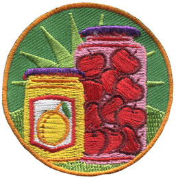 Baking, Canning, Pickles, Fruit, Vinegar, Jar, Mason. Preserve, Patch, Embroidered Patch, Merit Badge, Badge, Emblem, Iron On, Iron-On, Crest, Lapel Pin, Insignia, Girl Scouts, Boy Scouts, Girl Guides