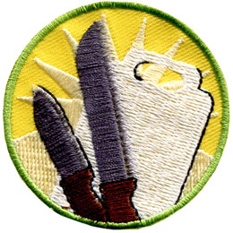 Baking, Knife, Skill, Cut, Cutting Board, Chop, Slice, Patch, Embroidered Patch, Merit Badge, Badge, Emblem, Iron On, Iron-On, Crest, Lapel Pin, Insignia, Girl Scouts, Boy Scouts, Girl Guides