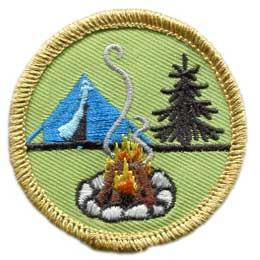 Tent, Camp, Camping, Tent Camp, Fire, Campfire, Tree, Patch, Embroidered Patch, Merit Badge, Badge, Emblem, Iron On, Iron-On, Crest, Lapel Pin, Insignia, Girl Scouts, Boy Scouts, Girl Guides