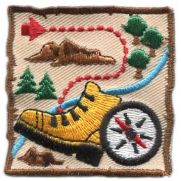 Adventure, Map, Pirate, Treasure, Compass, Boot, Tree, Rock, Patch, Embroidered Patch, Merit Badge, Badge, Emblem, Iron On, Iron-On, Crest, Lapel Pin, Insignia, Girl Scouts, Boy Scouts, Girl Guides